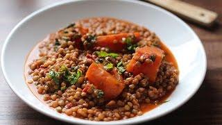 Mijoté de lentilles à la citrouille /  طبق شتوي:  العدس و القرع الاحمر