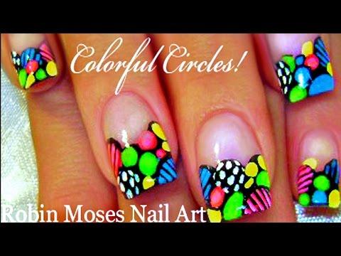 DIY Colorful Nails | Rainbow Circles Nail Art Design Tutorial - DIY Colorful Nails Rainbow Circles Nail Art Design Tutorial - YouTube