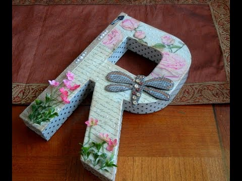 Custome Decorated Letter R ,,, Free Standing, Paper Mache Scrapbooking,  Decoupage Project
