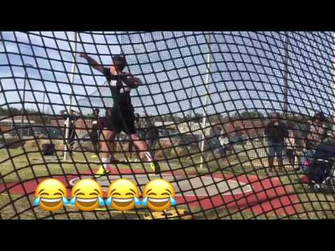 Middle school discus thrower in savage mode at meet!