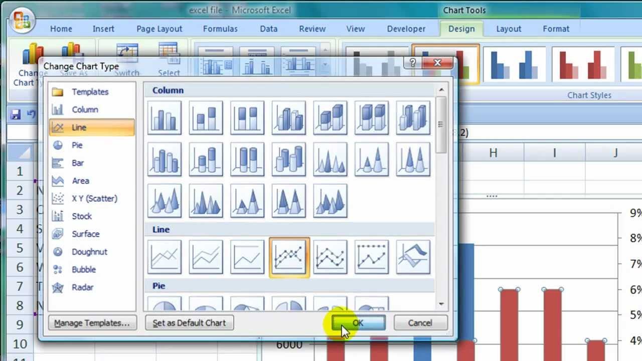How to create a combination bar line chart in excel 2007 youtube ccuart Choice Image