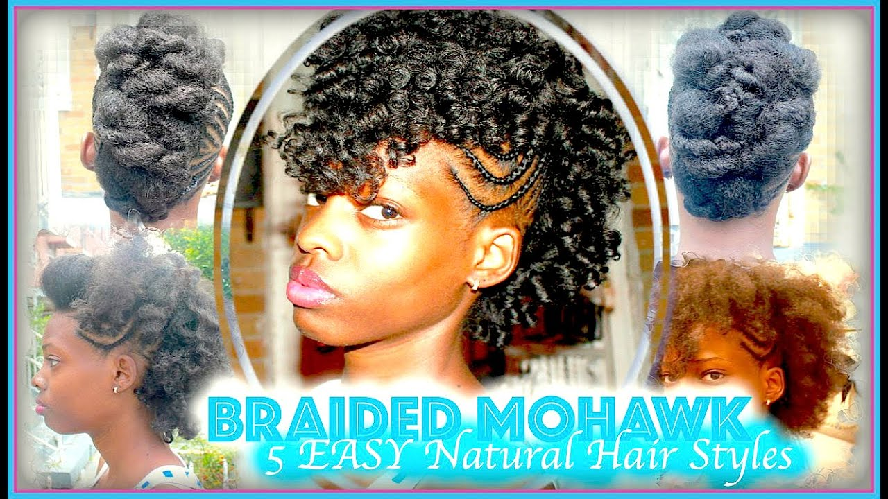 Braided Mohawk Updo 5 Easy Natural Hair Style Youtube
