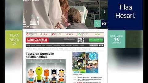 Helsingin Sanomien Dynaaminen tapetti Taloussanomat.fi sivustolla