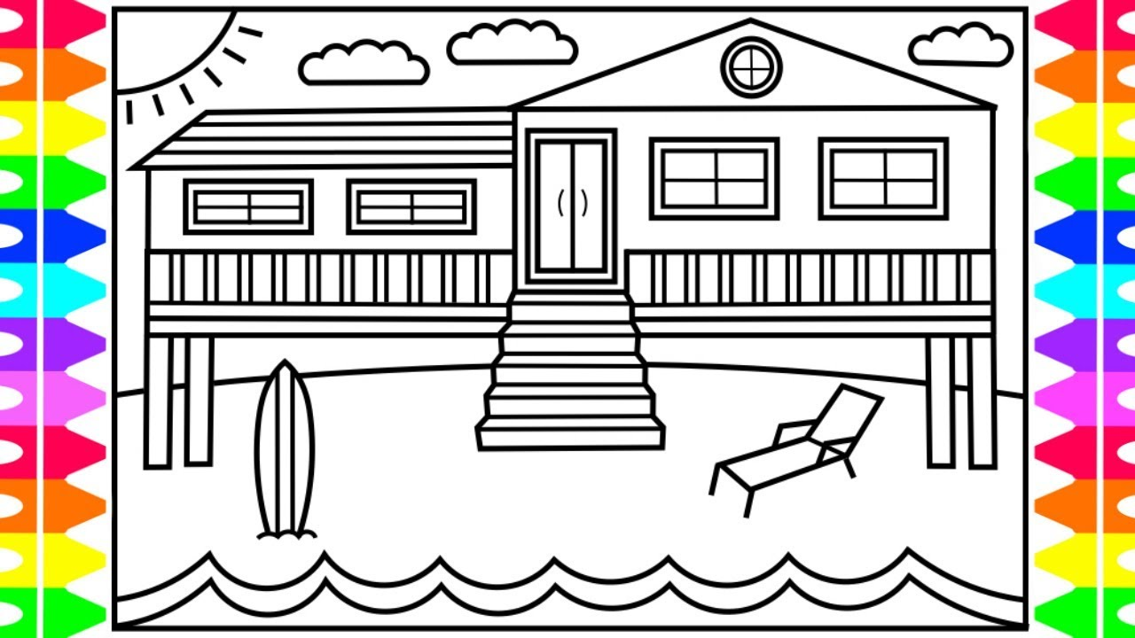 How to draw a beach house for kids 💙💚💜🏖beach house drawing beach house coloring pages for kids