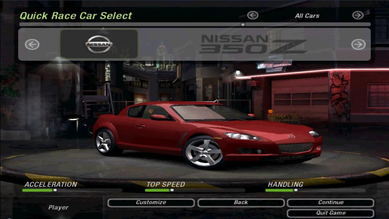 Nfs Underground 2 All Unlocked Stock Cars Youtube