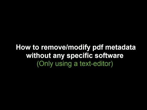 Modifying or Removing Metadata from PDF files