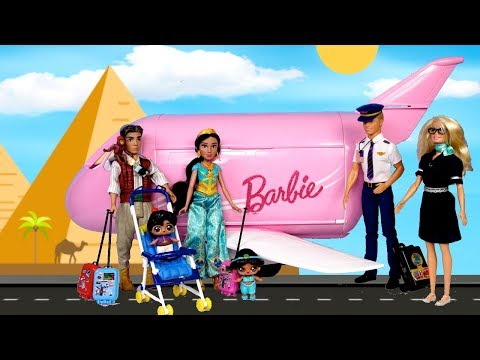 Barbie Doll LOL Aladdin Family Morning Travel Routine in Pink Barbie Airplane