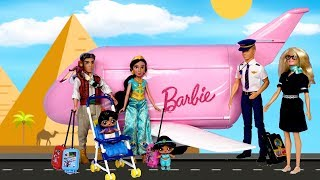 barbie-doll-lol-aladdin-family-morning-travel-routine-in-pink-barbie-airplane