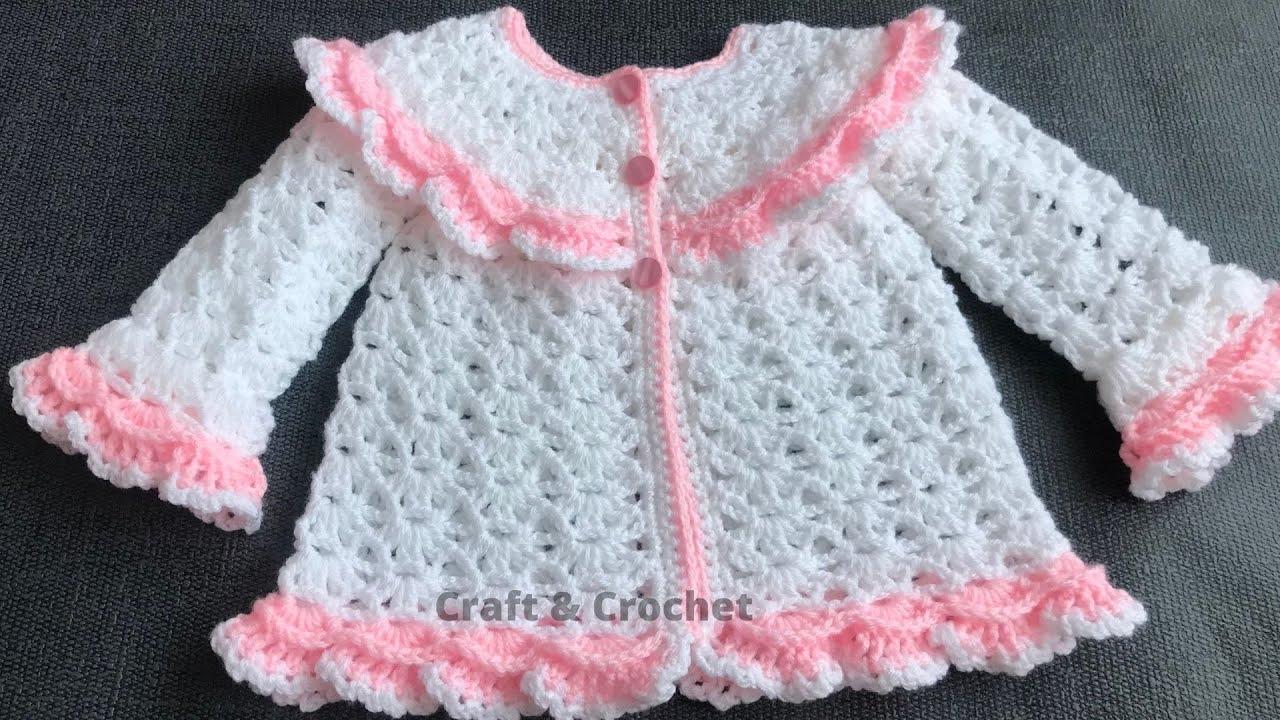Easy crochet baby cardigan/crochet cardigan/craft & crochet cardigan 3601