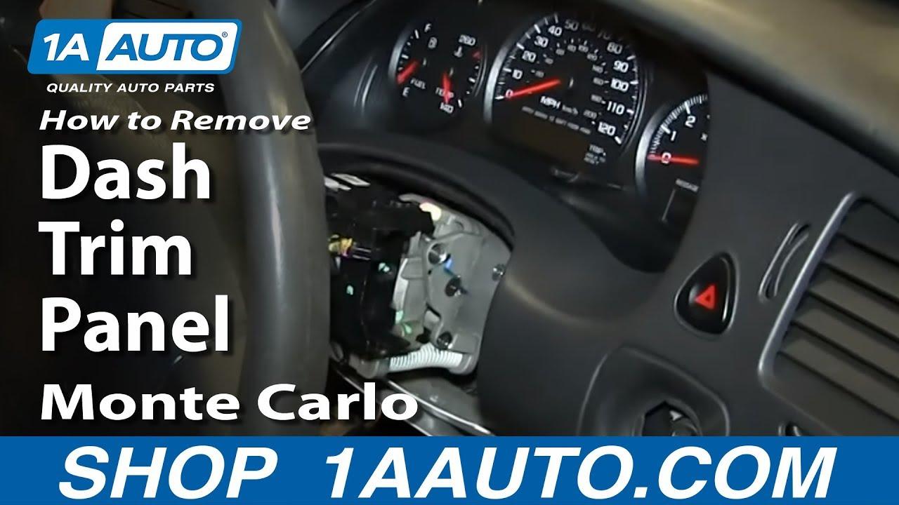 How To Remove Monte Carlo Dash Trim Panel  YouTube