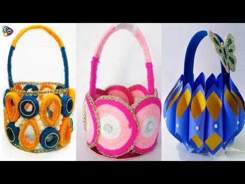 How to Make A Woolen flower vase/Paper Basket    Woolen Craft Idea - Woolen Design
