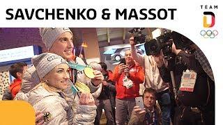 Olympiasieger Aljona Savchenko und Bruno Massot kommen im deutschen Haus an 🥇  | Team Deutschland