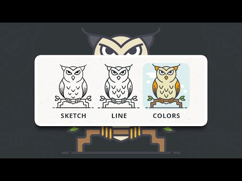 Owl Flat Icon Style Process - Illustrator