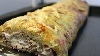 Картофельный рулет с языком и сыром