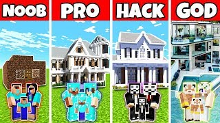 Minecraft Family Ultra Modern Mansion Build Challenge - Noob Vs Pro Vs Hacker Vs God In Minecraft