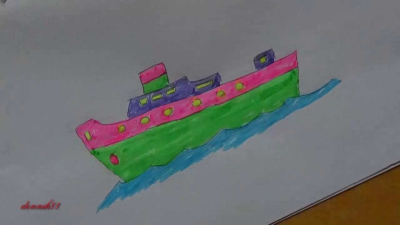 Menggambar Dan Mewarnai Kapal Laut Youtube