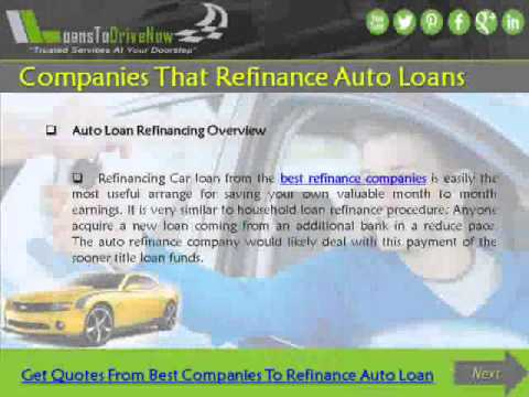 Refinance Auto Loan With Bad Credit >> Companies That Refinance Auto Loans With Bad Credit - YouTube