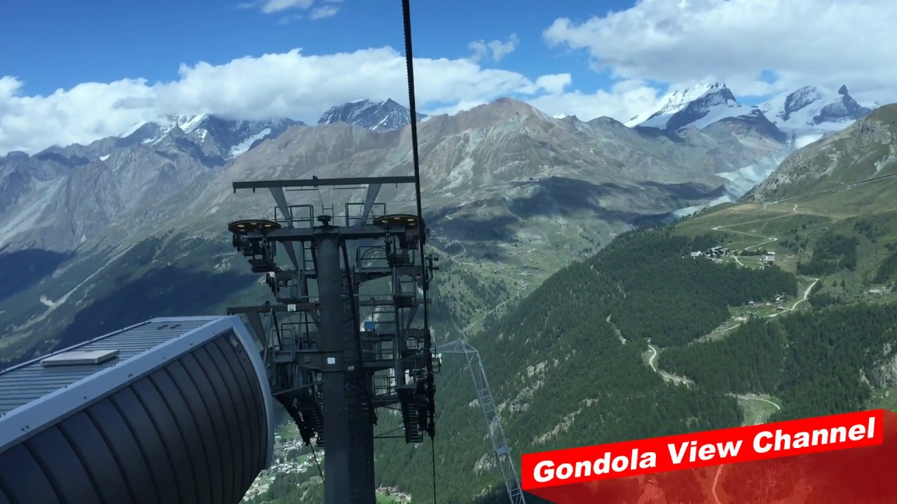 gondola view going down to the swiss alps village - matterhorn