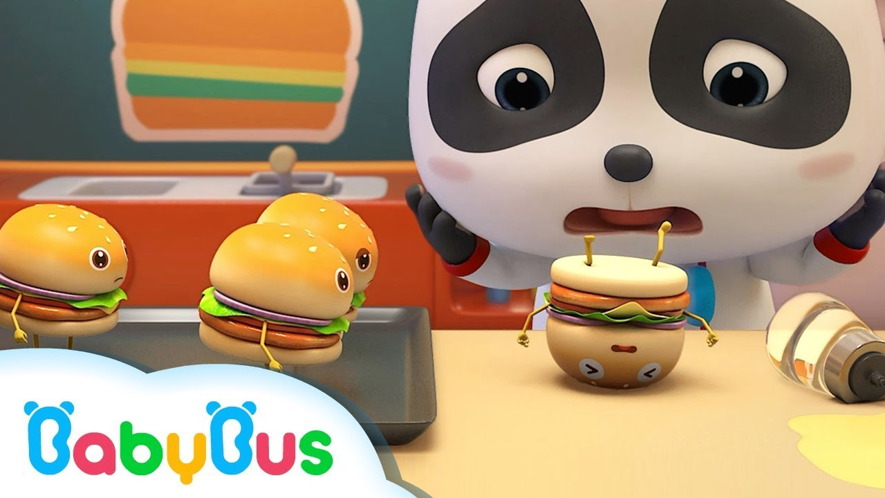 Naughty Hamburger Slips down | Baby Panda Chef,  Kitchen Play | Christmas Song | BabyBus
