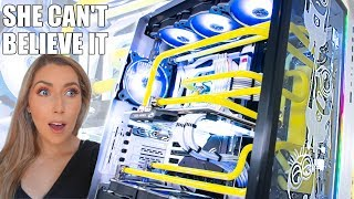 SHE Needed a New Gaming PC! - O11 XL Minions Themed Water Cooled PC