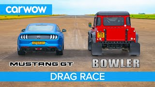 Ford Mustang vs Bowler Bulldog - 5.0-litre V8 DRAG RACE, ROLLING RACE & BRAKE TEST