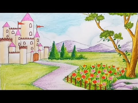 how-to-draw-a-scenery-of-flower-garden-with-castle-step-by-step