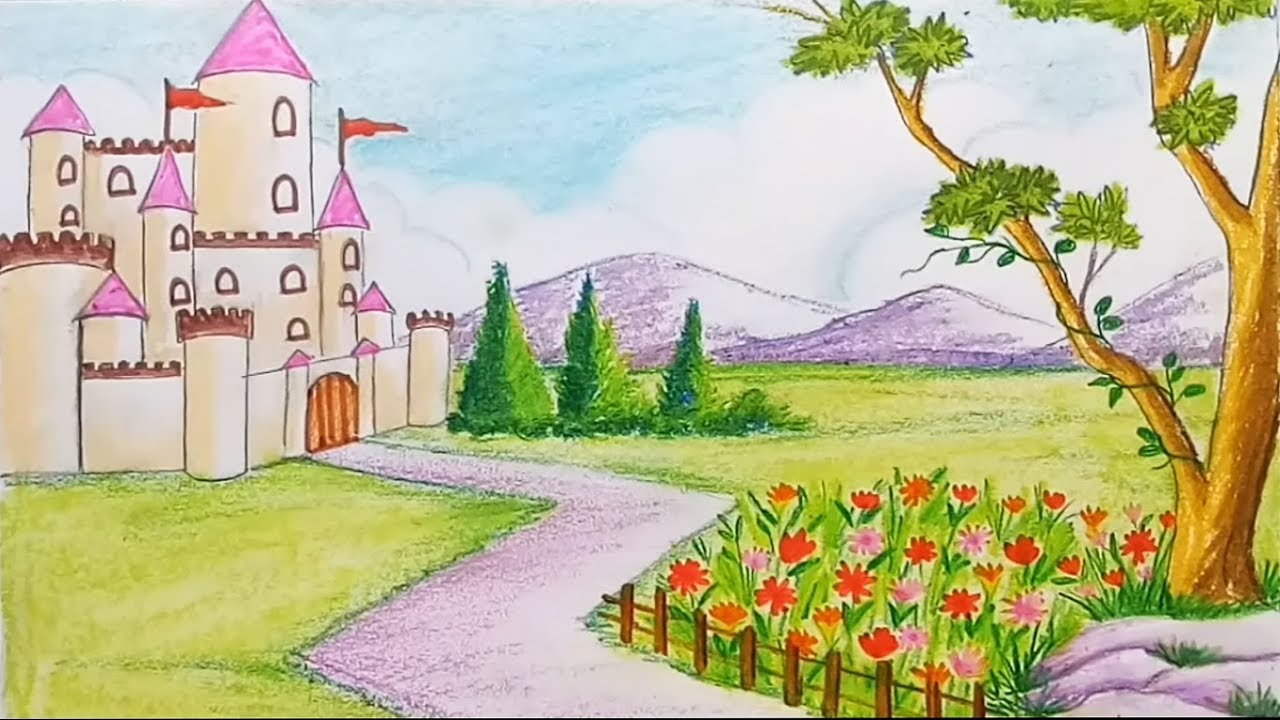 How to draw a scenery of flower garden with castle step by step