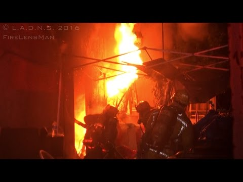 LAFD / Structure Fire on Normandie Avenue / Fire Attack