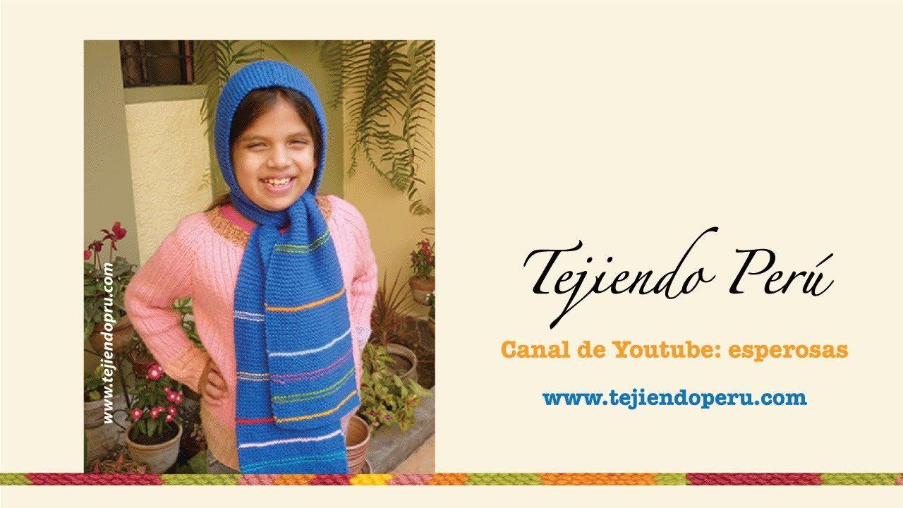 Bufanda con capucha para niños tejida con dos agujas o palitos - YouTube