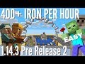 Minecraft Iron Farm: Iron Farm works in 1 14 3 Pre 2 with 400+ Iron Per Hour Avomance 2019