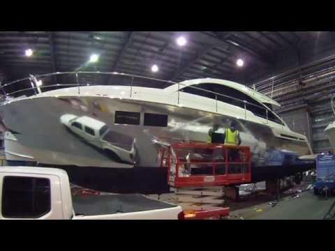 Chrome Vinyl Marine Boat Wrap On Gran Turismo Fairline 58