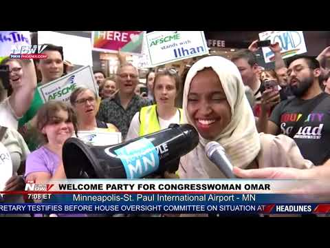 WELCOME BACK ILHAN: Crowd at MN airport chant support for Omar