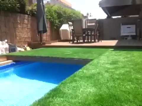 Camouflaged pool with synthetic grass - YouTube