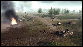 HUGE PANZER ASSAULT! British Line Defense in Normandy - Men of War RobZ Realism Mod Gameplay