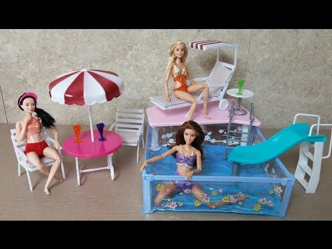 Thumbnail: Review : Unboxing Summer Resort Water Fun - barbie doll pool party play set تجمع دمية باربي