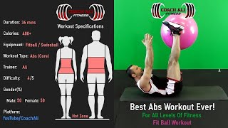 36 mins best abs workout with swiss ball (fit ball) you can follow along at home. home exercise ball. coach ali workout. ab workout...