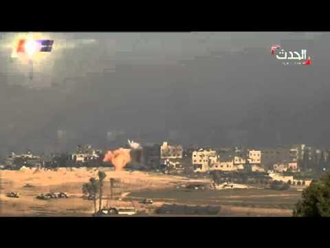 Israeli bombing of a Gaza neighborhood - time lapse footage