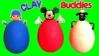 Surprise Clay Buddies Mickey Mouse, POCOYO, Peppa Pig, Sofia, Shaun Sheep Play-Doh Huevos Sorpresa