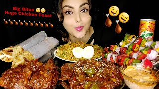 Huge Indo Chinese Food Eating🤤! Chicken Lollipop,Honey🌶 Wings,Green&Red Chicken Tikka,Maggi,Egg Roll