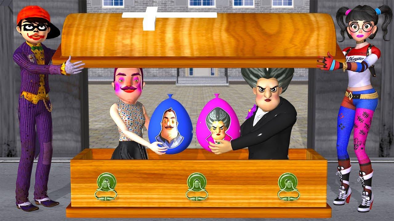 Scary Teacher 3D - Miss T vs NickJoker and Tani Harley Quinn Troll Neighbor with Water Balloon Mask