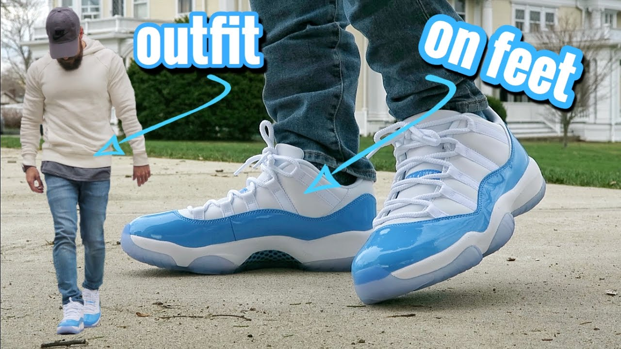 8a5e7f23449826 ... usa air jordan retro 11 low unc university blue on feet outfit 6ecd7  d0b25