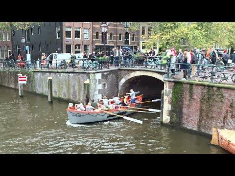 Grachtenrace Amsterdam 2019: Doorkomst Brouwersgracht / Papiermolensluis - Pastoorsbrug