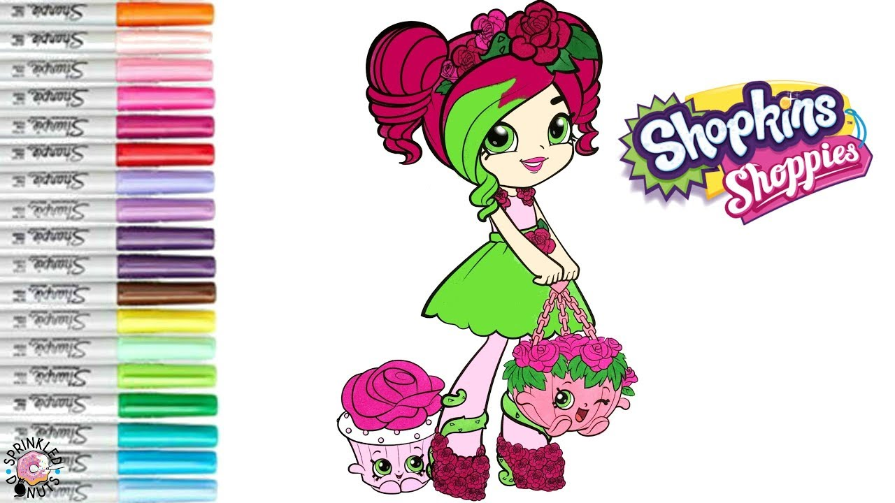 Shopkins Shoppie Rosie Bloom Coloring Book Page Colouring