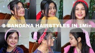 8 Easy Hairstyles | 1Min Everyday Hairstyles | How To Style Bandana | Bandana Hairstyle