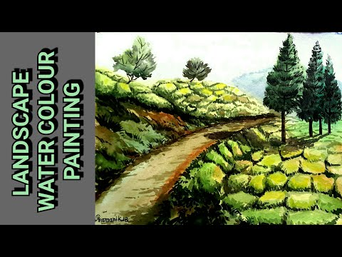 HOW TO LANDSCAPE WATER COLOUR PAINTING / TEA GARDEN / Very easy steps