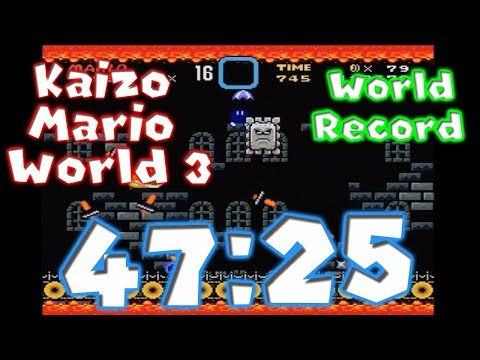 Kaizo Mario World 3 Any% Speedrun 47:25 *World Record*