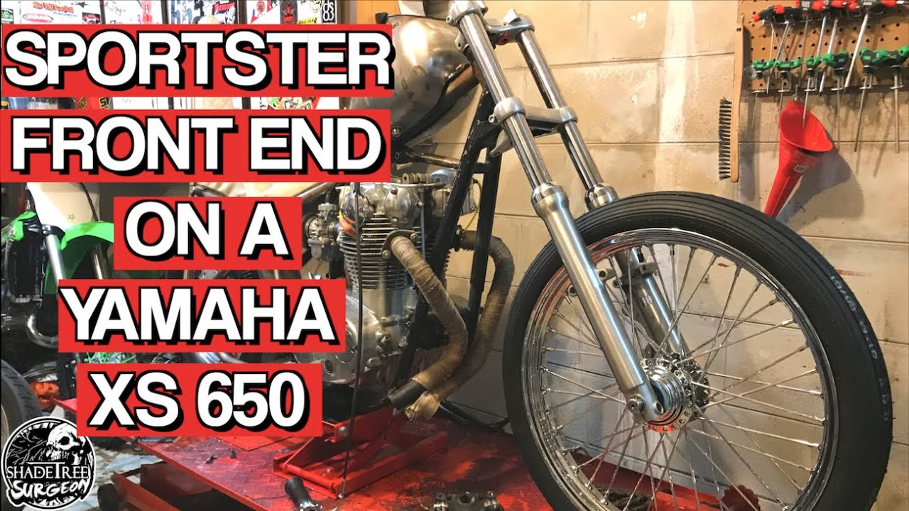 Harley Sportster front end on a Yamaha XS650 chopper   Chopper Build Series  Ep 12