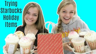 Trying All of the Starbucks Holiday Items Drinks & Foods ~ Jacy and Kacy