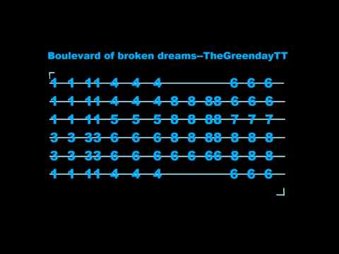 Boulevard of broken dreams Guitar Tab - YouTube