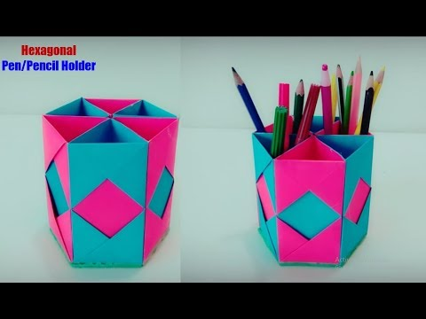 Paper art and craft | how to make pen stand | pencil holder | paper craft